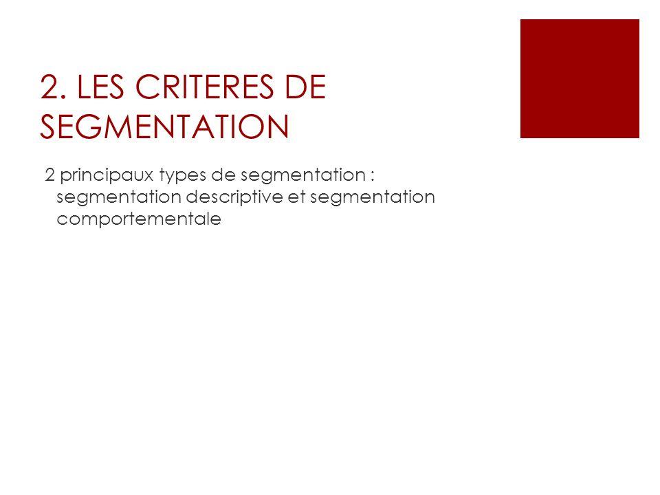 2. LES CRITERES DE SEGMENTATION