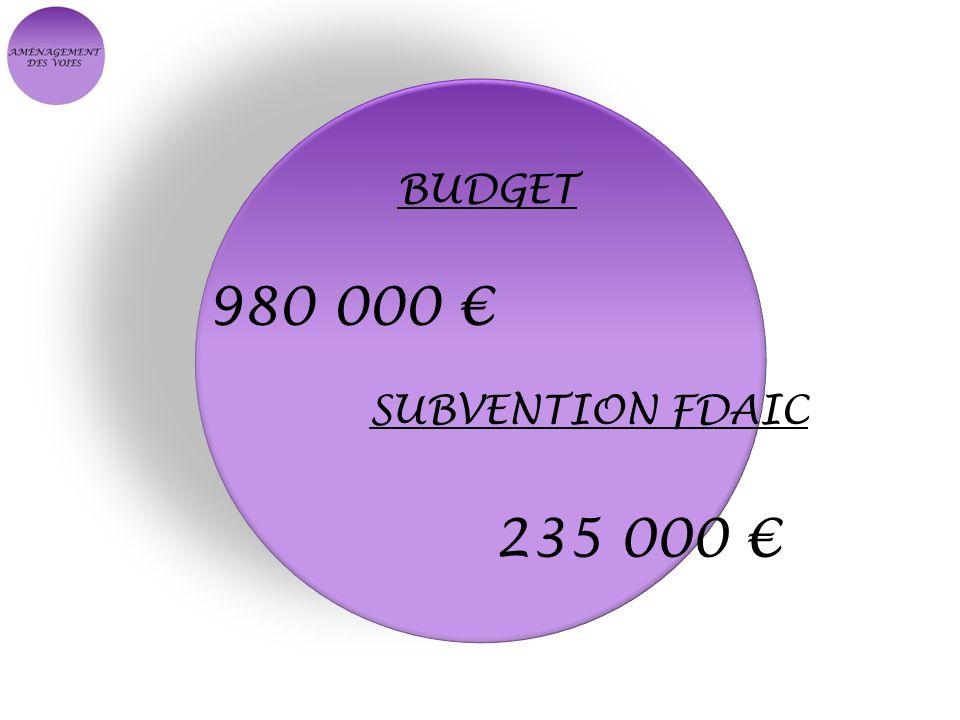 BUDGET 980 000 € SUBVENTION FDAIC 235 000 €