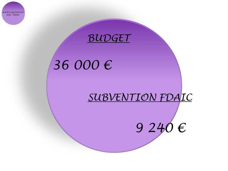 BUDGET 36 000 € SUBVENTION FDAIC 9 240 €