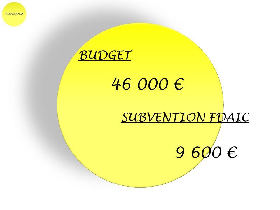 BUDGET 46 000 € SUBVENTION FDAIC 9 600 €