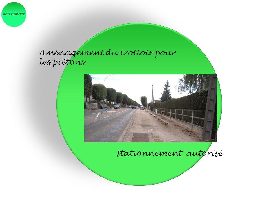 Aménagement du trottoir pour les piétons