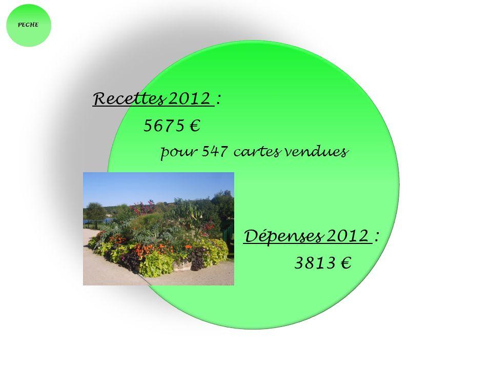Recettes 2012 : 5675 € pour 547 cartes vendues Dépenses 2012 : 3813 €