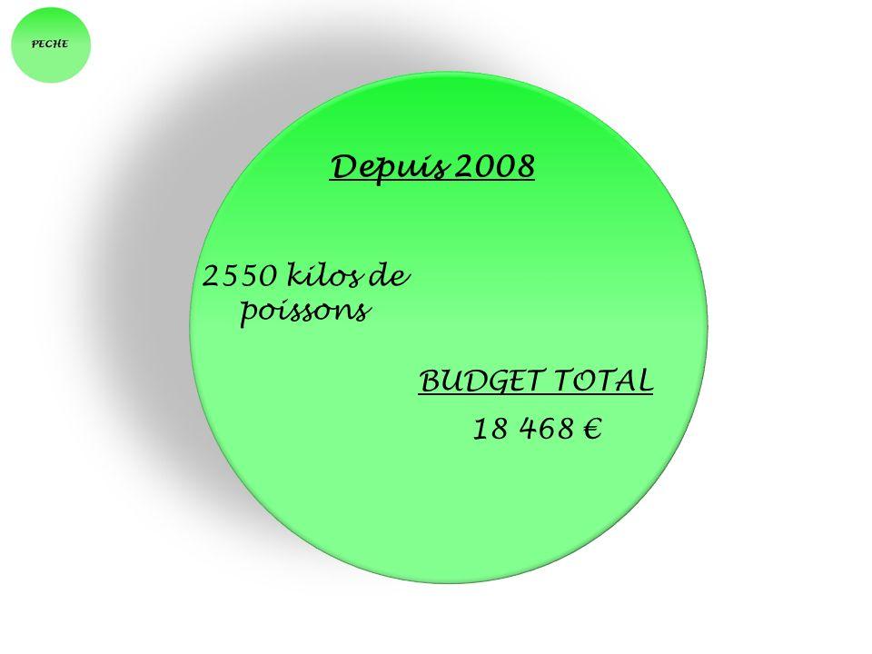 Depuis 2008 2550 kilos de poissons BUDGET TOTAL 18 468 €