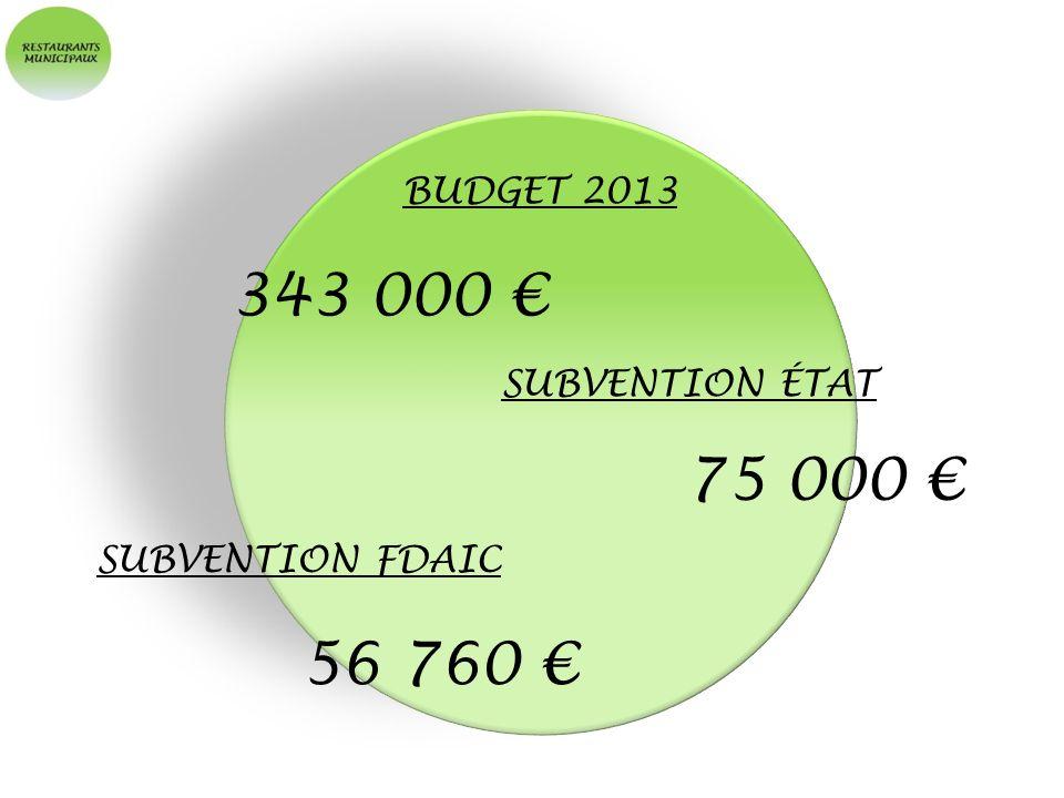 343 000 € 75 000 € 56 760 € BUDGET 2013 SUBVENTION ÉTAT