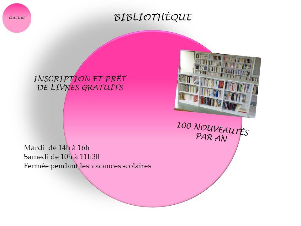 BIBLIOTHÈQUE INSCRIPTION ET PRÊT DE LIVRES GRATUITS 100 NOUVEAUTÉS