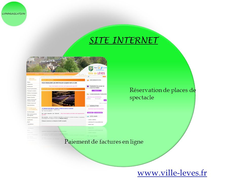 SITE INTERNET www.ville-leves.fr Réservation de places de spectacle