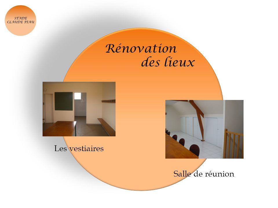 Rénovation des lieux Les vestiaires Salle de réunion