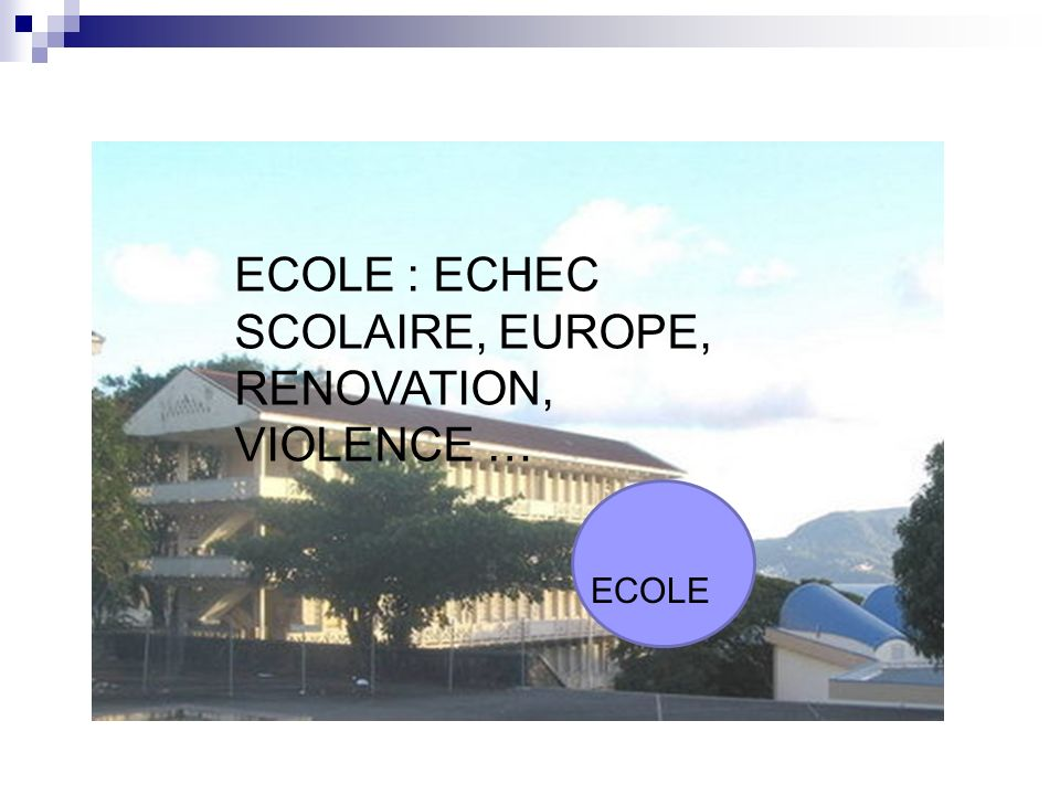 ECOLE : ECHEC SCOLAIRE, EUROPE, RENOVATION, VIOLENCE …