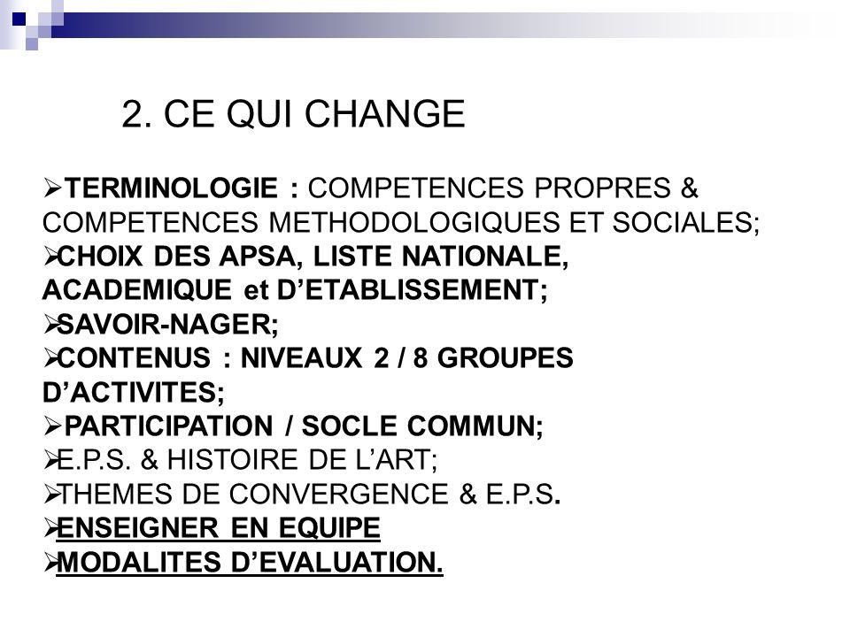 2. CE QUI CHANGE TERMINOLOGIE : COMPETENCES PROPRES & COMPETENCES METHODOLOGIQUES ET SOCIALES;