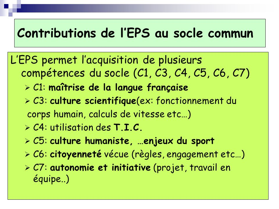 Contributions de l'EPS au socle commun