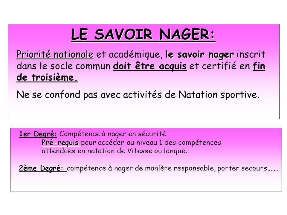 LE SAVOIR NAGER: Priorité nationale et académique, le savoir nager inscrit dans le socle commun doit être acquis et certifié en fin de troisième.