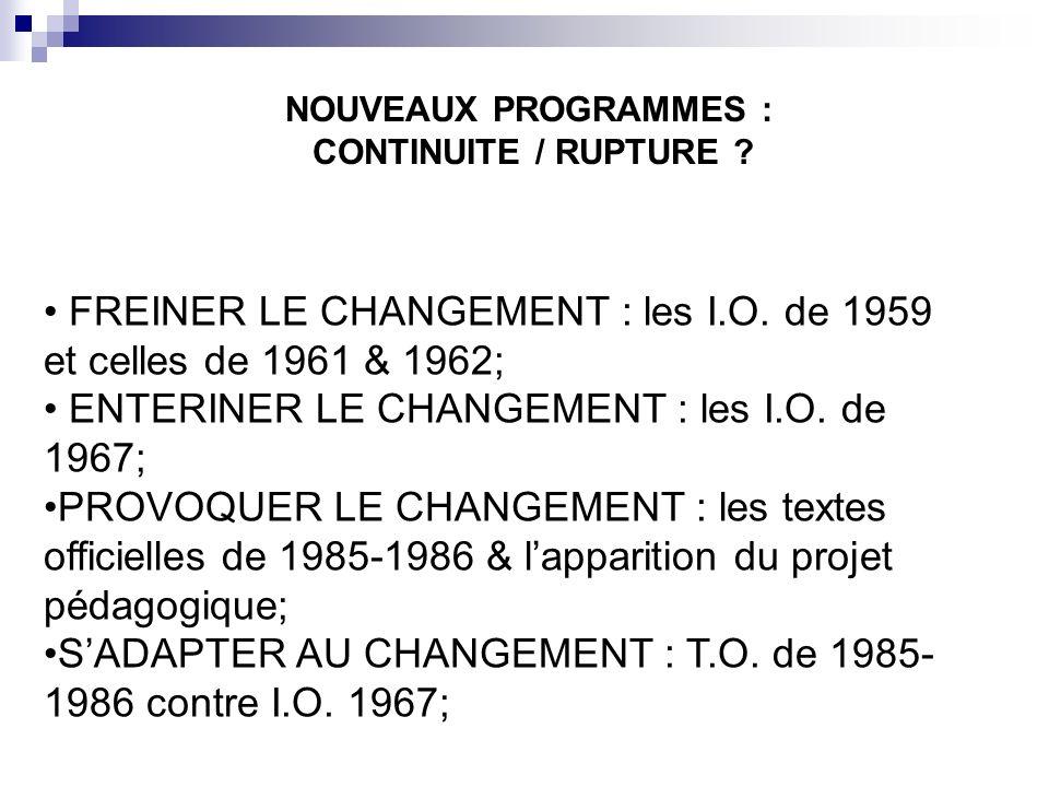 FREINER LE CHANGEMENT : les I.O. de 1959 et celles de 1961 & 1962;