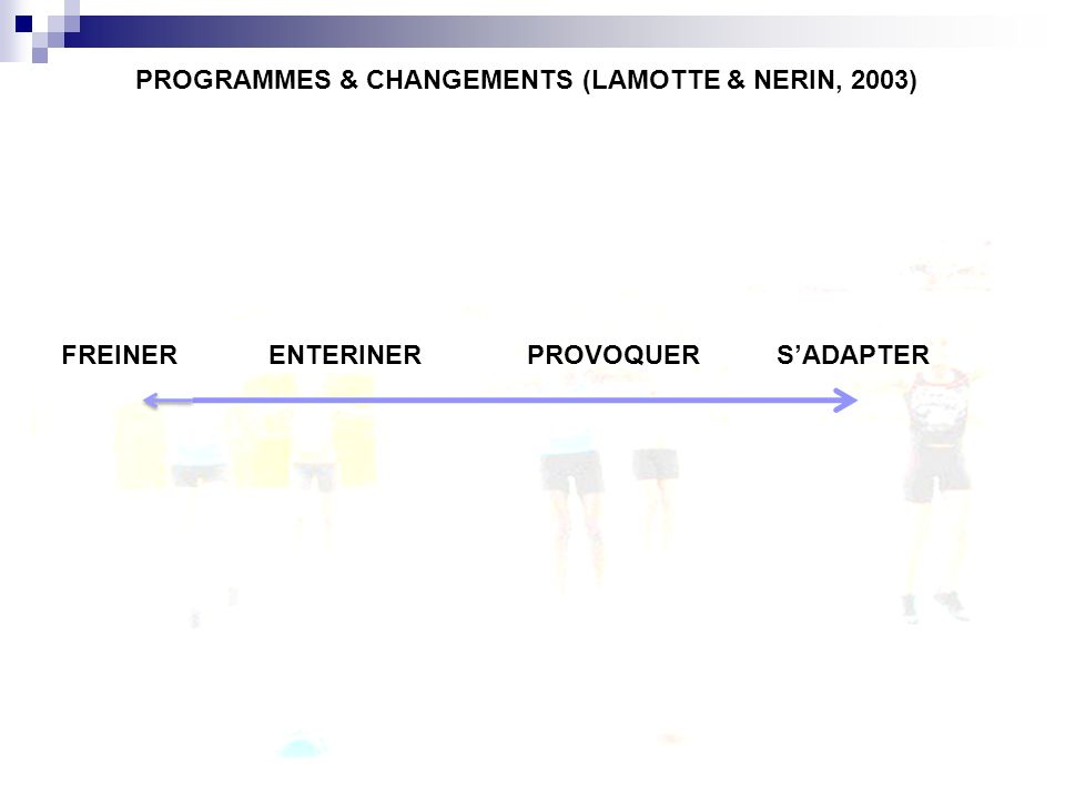 PROGRAMMES & CHANGEMENTS (LAMOTTE & NERIN, 2003)