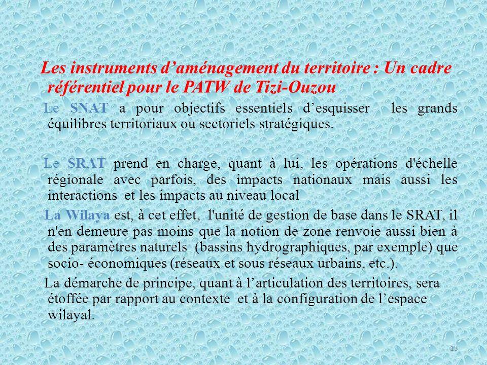 Les instruments d'aménagement du territoire : Un cadre référentiel pour le PATW de Tizi-Ouzou Le SNAT a pour objectifs essentiels d'esquisser les grands équilibres territoriaux ou sectoriels stratégiques.