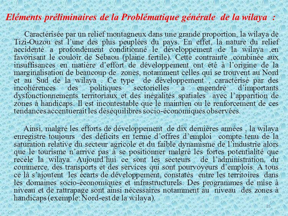 Eléments préliminaires de la Problématique générale de la wilaya :