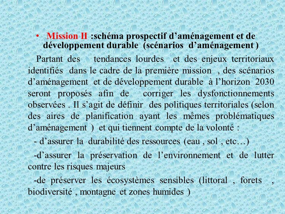 Mission II :schéma prospectif d'aménagement et de développement durable (scénarios d'aménagement )