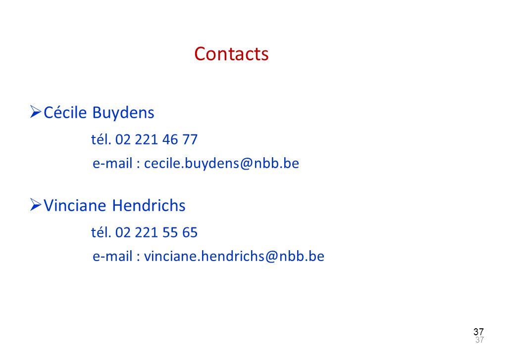 Contacts Cécile Buydens tél. 02 221 46 77 Vinciane Hendrichs