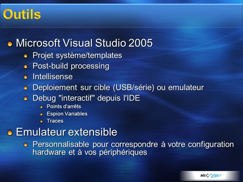 Outils Microsoft Visual Studio 2005 Emulateur extensible