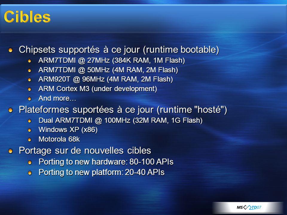 Cibles Chipsets supportés à ce jour (runtime bootable)