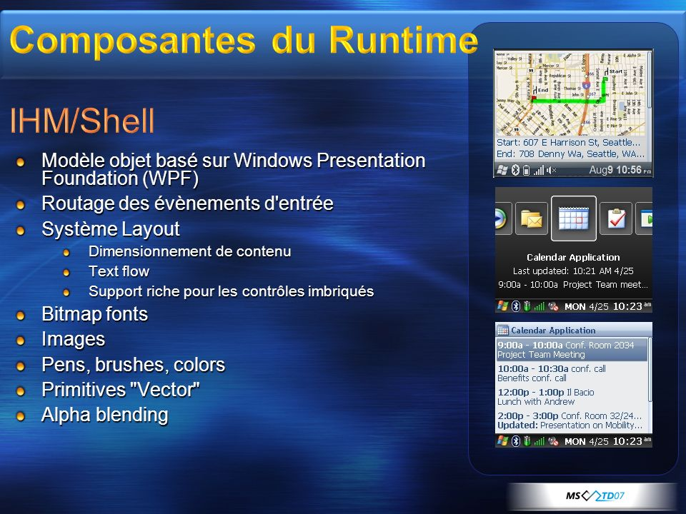 Composantes du Runtime IHM/Shell