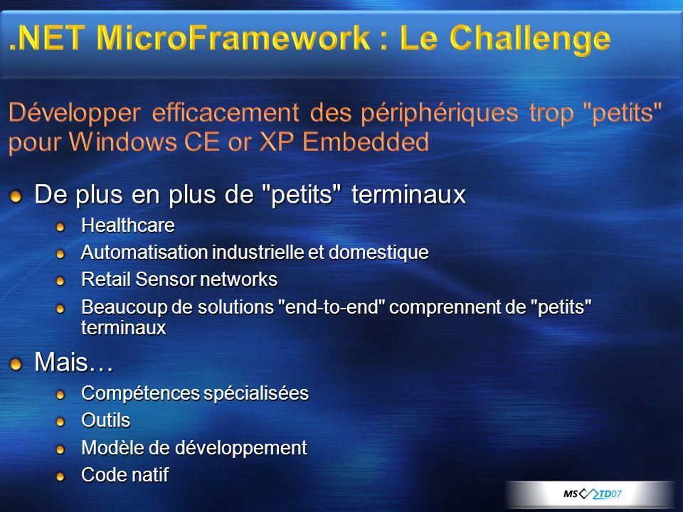 MGB 2003 .NET MicroFramework : Le Challenge Développer efficacement des périphériques trop petits pour Windows CE or XP Embedded.