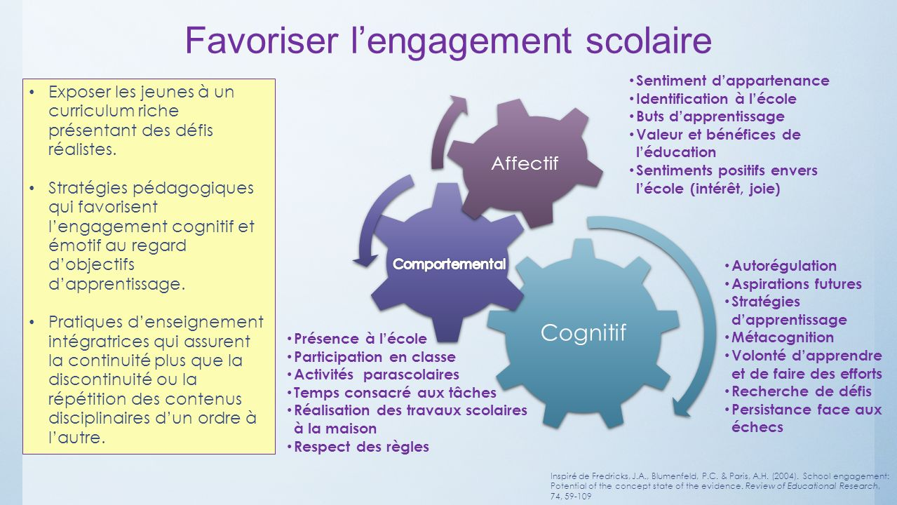 Favoriser l'engagement scolaire
