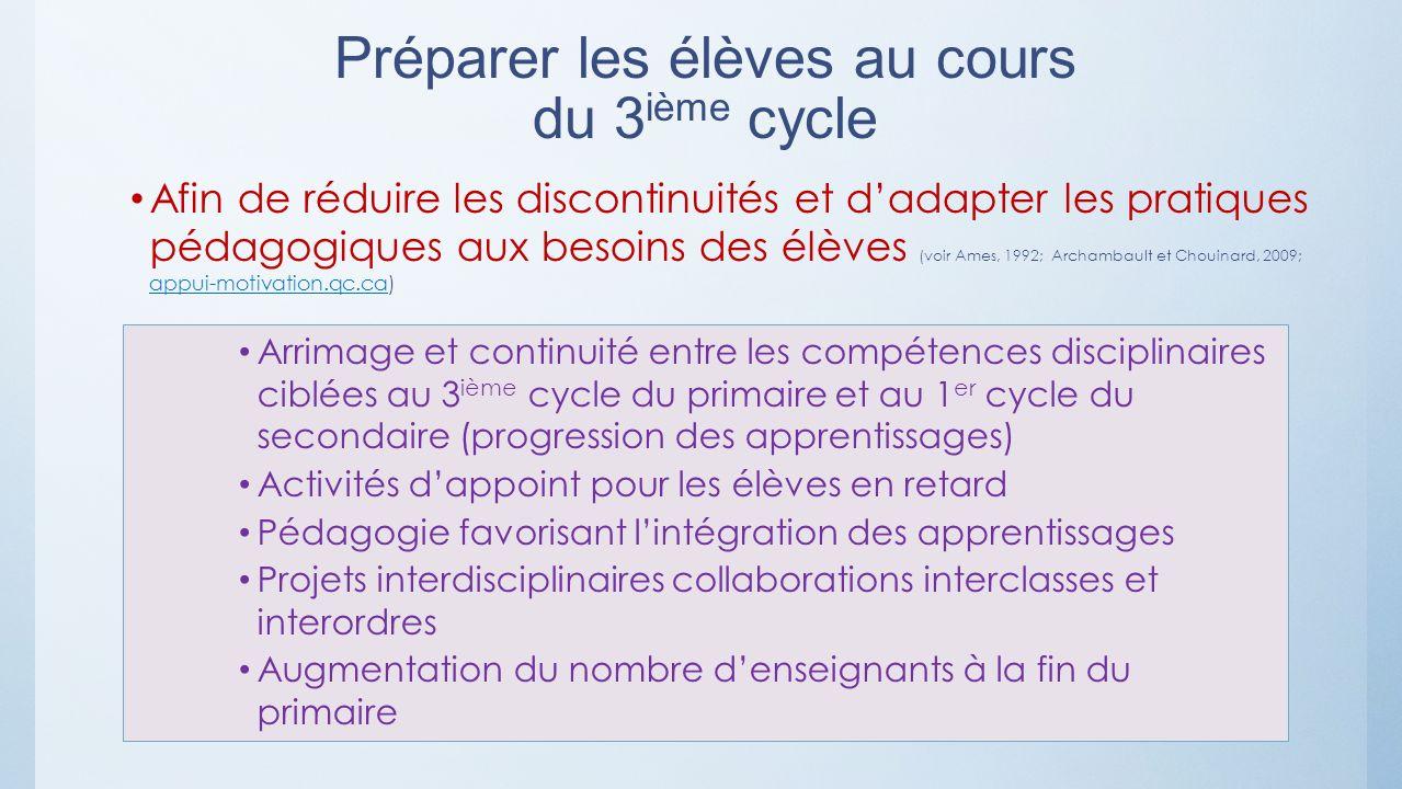 Préparer les élèves au cours du 3ième cycle