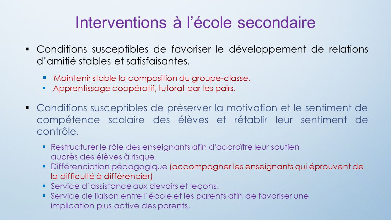 Interventions à l'école secondaire