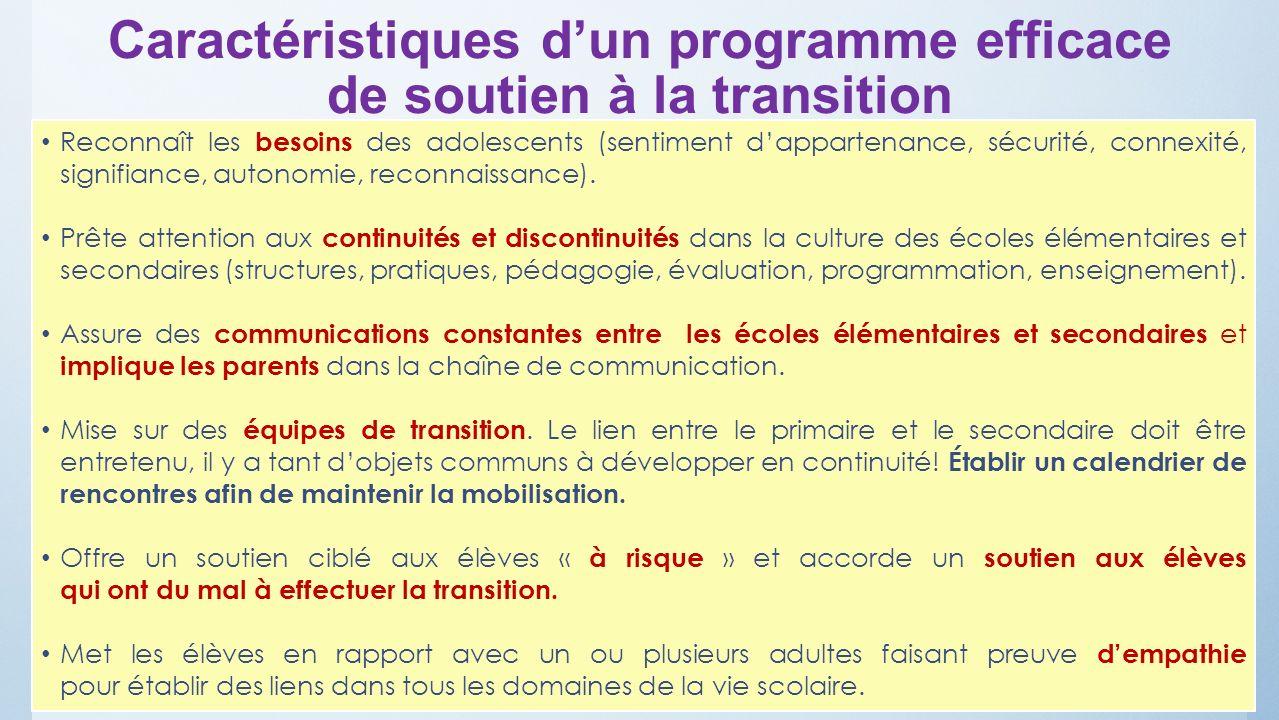 Caractéristiques d'un programme efficace de soutien à la transition