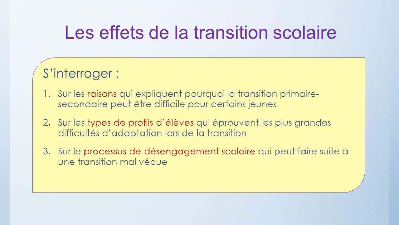 Les effets de la transition scolaire