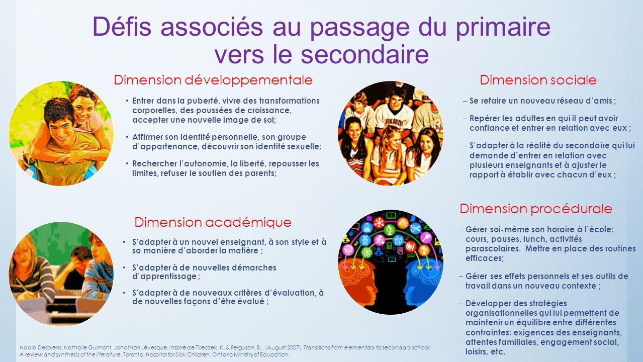 Défis associés au passage du primaire vers le secondaire
