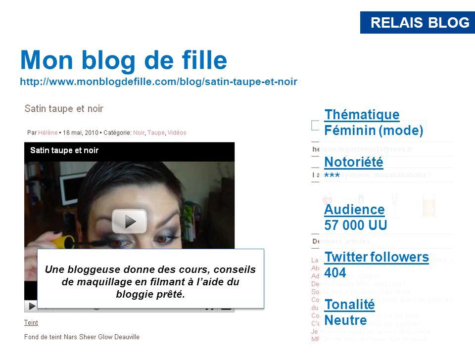 RELAIS BLOG Mon blog de fille. http://www.monblogdefille.com/blog/satin-taupe-et-noir. Thématique.