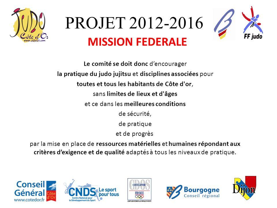 PROJET 2012-2016 MISSION FEDERALE Le comité se doit donc d'encourager