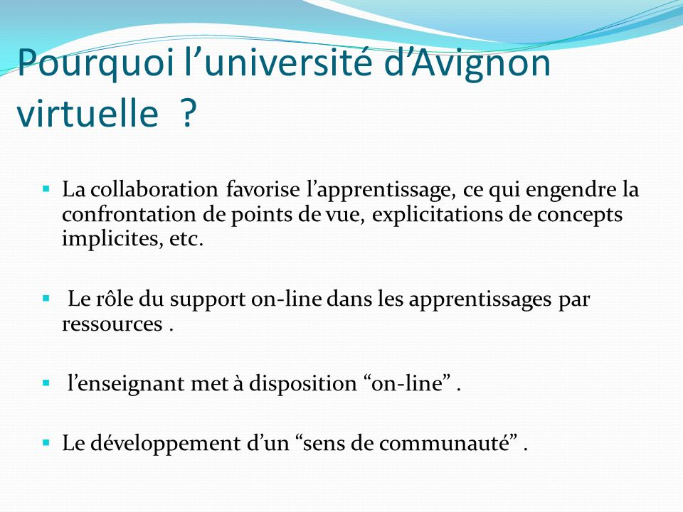 Pourquoi l'université d'Avignon virtuelle