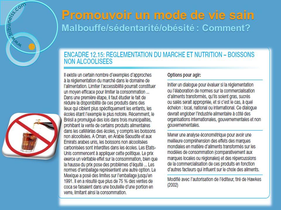 Promouvoir un mode de vie sain Malbouffe/sédentarité/obésité : Comment