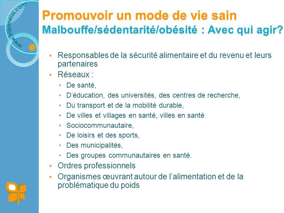 Promouvoir un mode de vie sain Malbouffe/sédentarité/obésité : Et chez vous