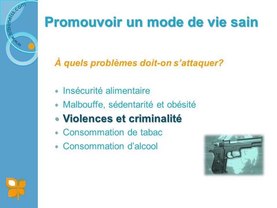Promouvoir un mode de vie sain Violence et criminalité : Pourquoi