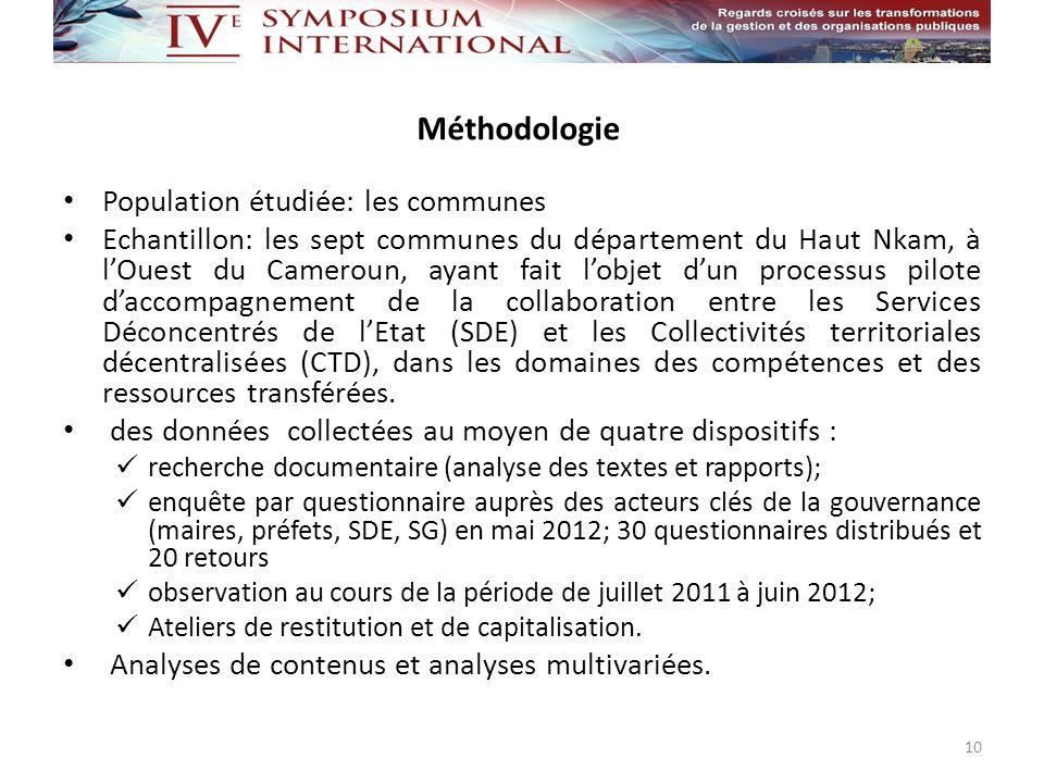 Méthodologie Population étudiée: les communes