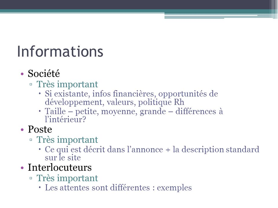 Informations Société Poste Interlocuteurs Très important