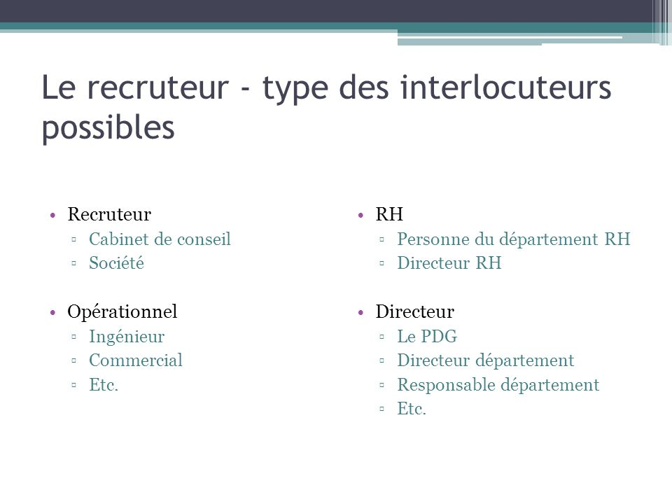 Le recruteur - type des interlocuteurs possibles