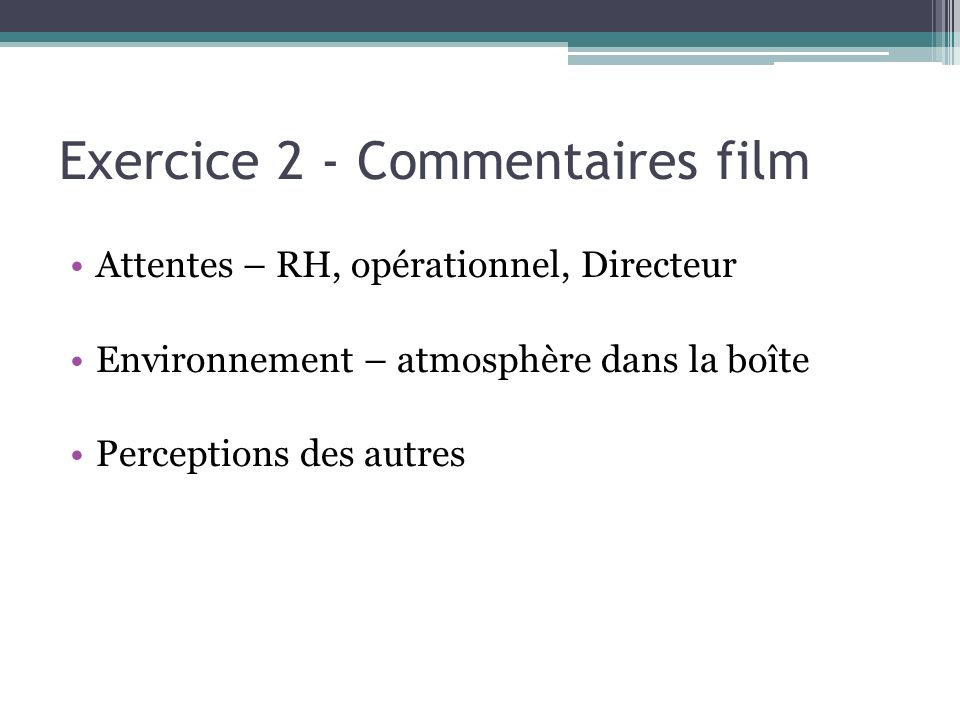 Exercice 2 - Commentaires film