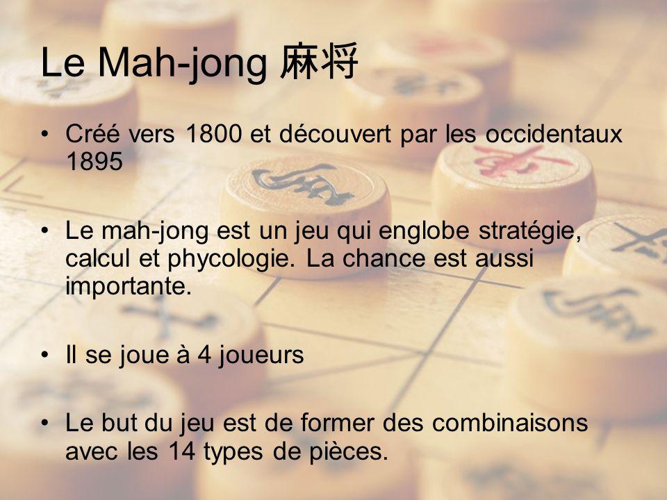 Le Mah-jong 麻将 Créé vers 1800 et découvert par les occidentaux 1895
