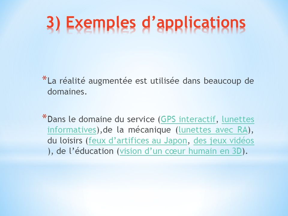 3) Exemples d'applications