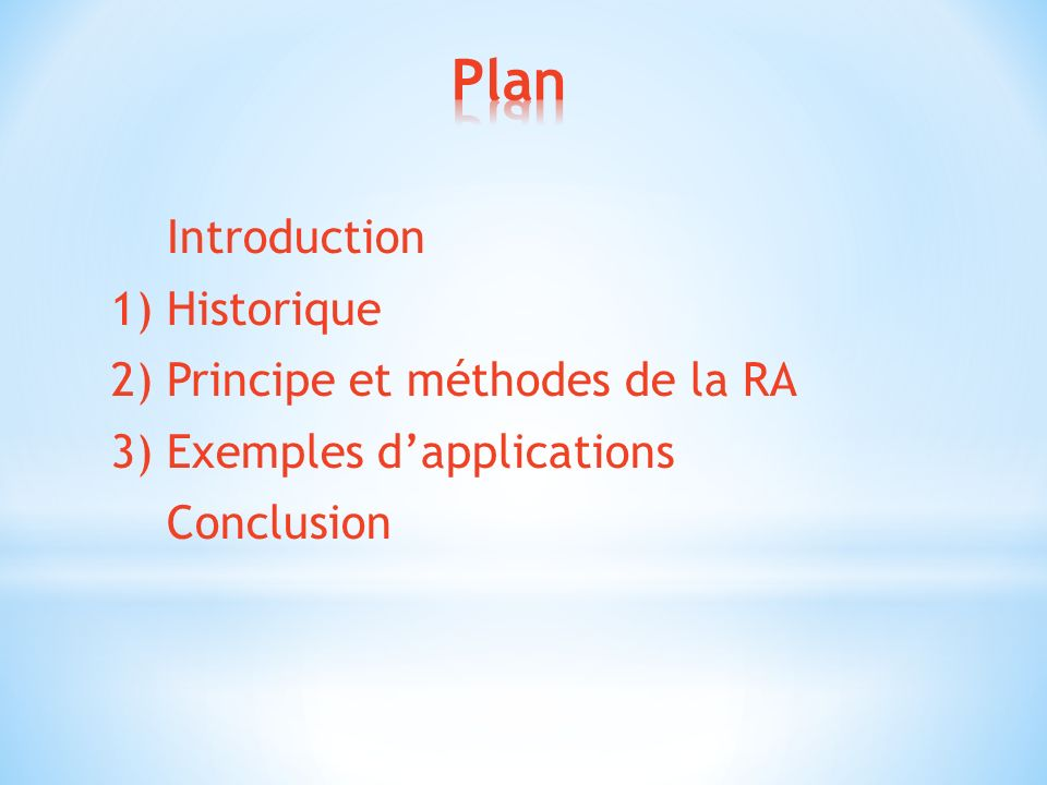 Plan Introduction 1) Historique 2) Principe et méthodes de la RA 3) Exemples d'applications Conclusion