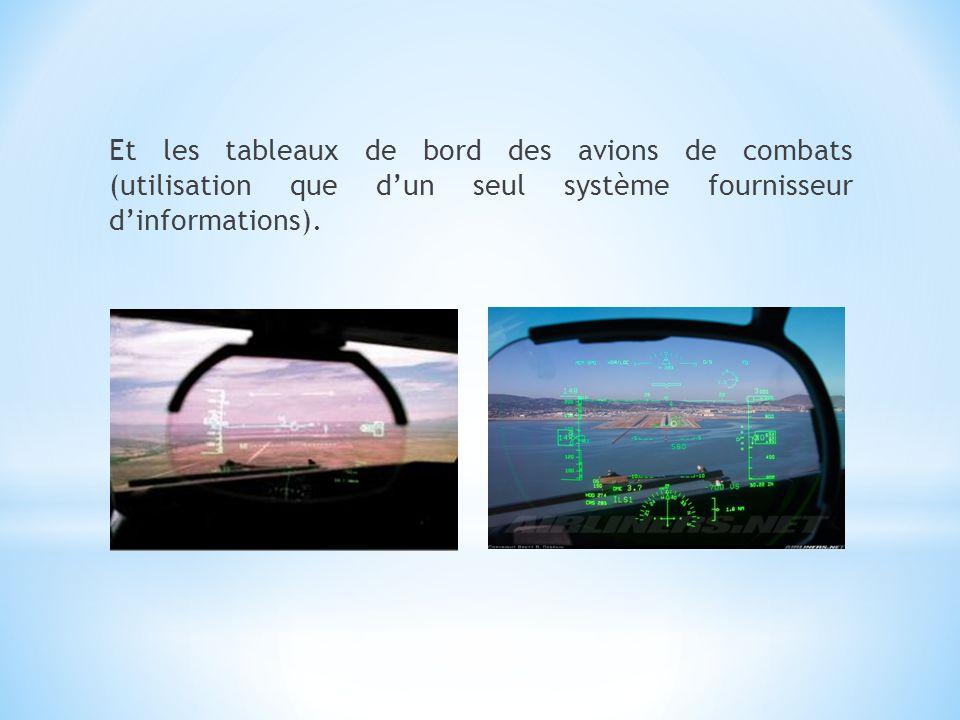Et les tableaux de bord des avions de combats (utilisation que d'un seul système fournisseur d'informations).