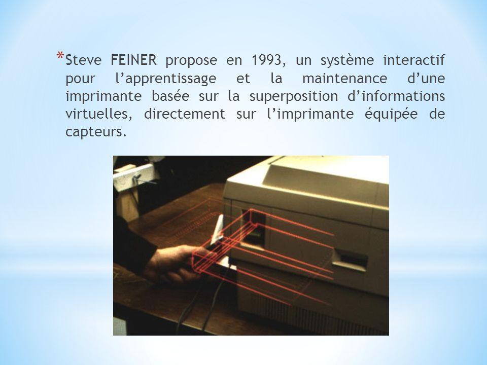Steve FEINER propose en 1993, un système interactif pour l'apprentissage et la maintenance d'une imprimante basée sur la superposition d'informations virtuelles, directement sur l'imprimante équipée de capteurs.