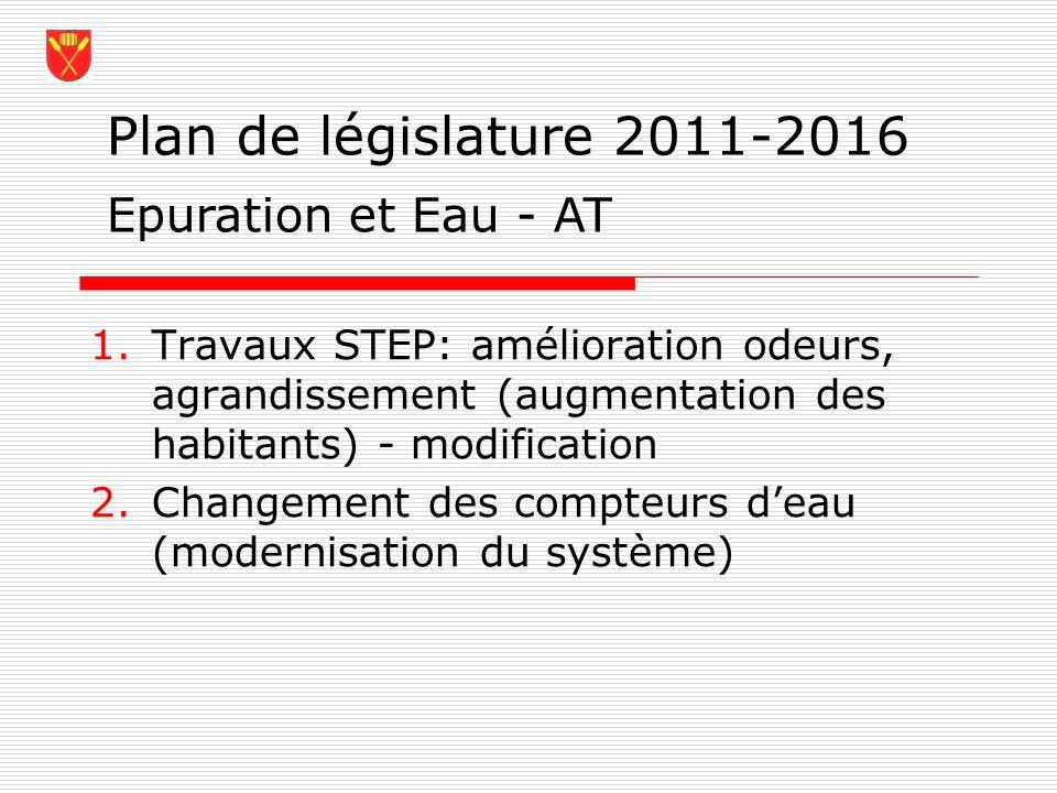 Plan de législature 2011-2016 Epuration et Eau - AT