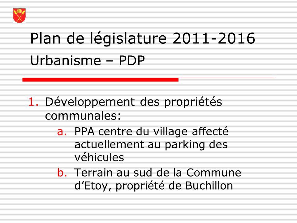 Plan de législature 2011-2016 Urbanisme – PDP