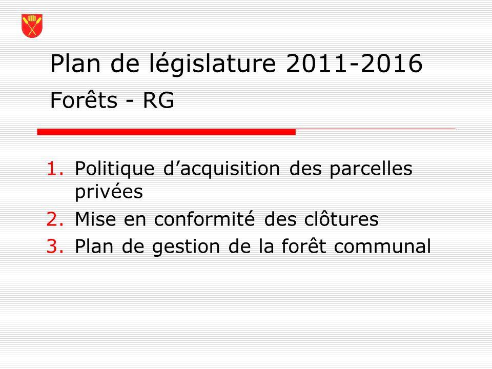 Plan de législature 2011-2016 Forêts - RG