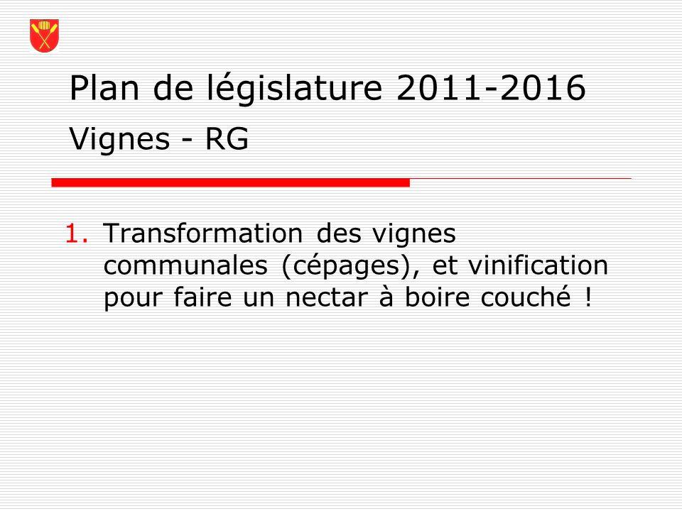 Plan de législature 2011-2016 Vignes - RG